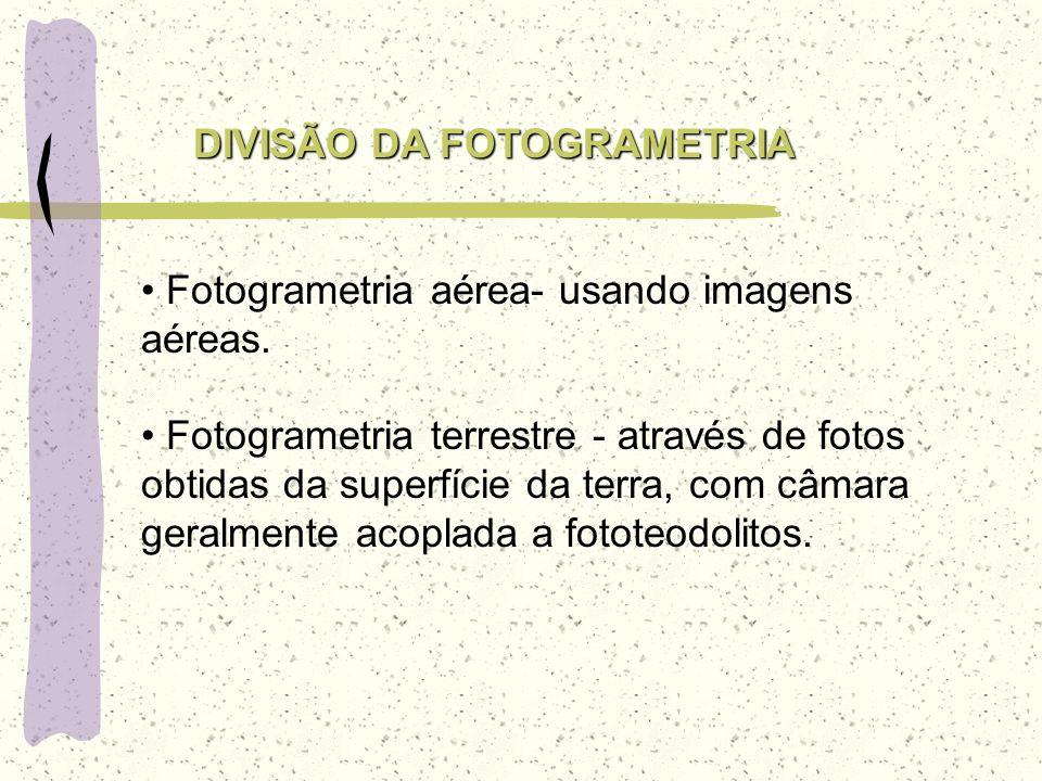 DIVISÃO DA FOTOGRAMETRIA Fotogrametria aérea- usando imagens aéreas. Fotogrametria terrestre - através de fotos obtidas da superfície da terra, com câ