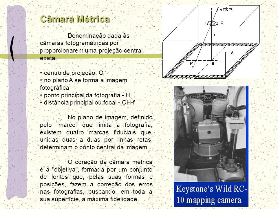 Câmara Métrica Denominação dada às câmaras fotogramétricas por proporcionarem uma projeção central exata. centro de projeção: O no plano A se forma a