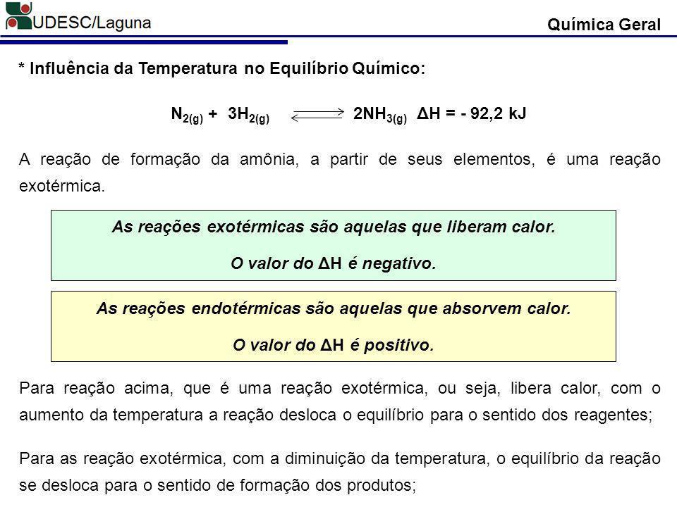 Química Geral * Influência da Temperatura no Equilíbrio Químico: N 2(g) + 3H 2(g) 2NH 3(g) ΔH = - 92,2 kJ A reação de formação da amônia, a partir de