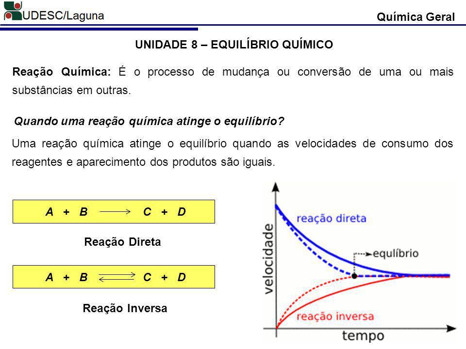 Química Geral Velocidade = distância (m) / tempo (s) Para as reação química temos: As reações inversas são chamadas de reações reversíveis.
