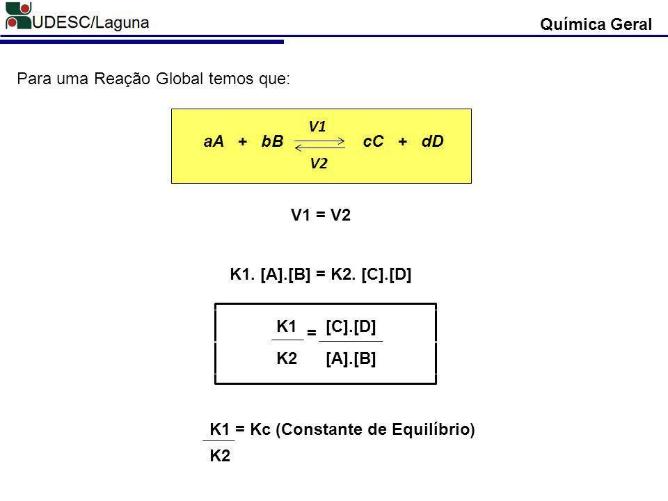 Química Geral Para uma Reação Global temos que: aA + bB cC + dD V1 V2 V1 = V2 K1. [A].[B] = K2. [C].[D] K1 [C].[D] K2 [A].[B] = K1 = Kc (Constante de