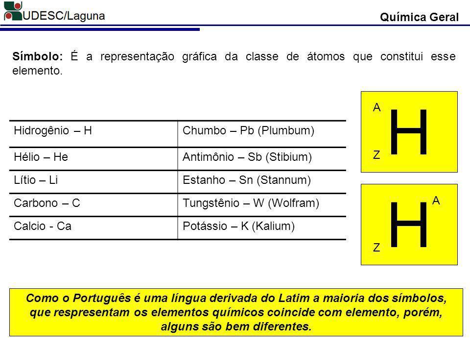 Química Geral Símbolo: É a representação gráfica da classe de átomos que constitui esse elemento. Hidrogênio – HChumbo – Pb (Plumbum) Hélio – HeAntimô