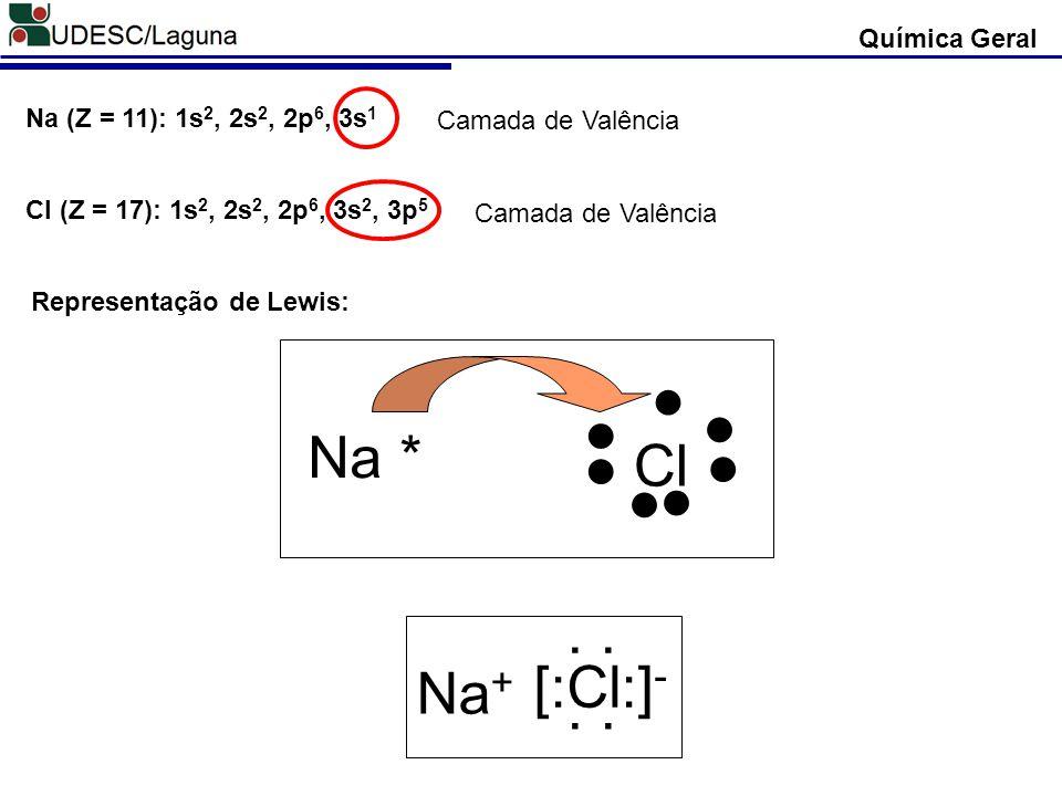 Química Geral Na (Z = 11): 1s 2, 2s 2, 2p 6, 3s 1 Camada de Valência Cl (Z = 17): 1s 2, 2s 2, 2p 6, 3s 2, 3p 5 Camada de Valência Representação de Lew