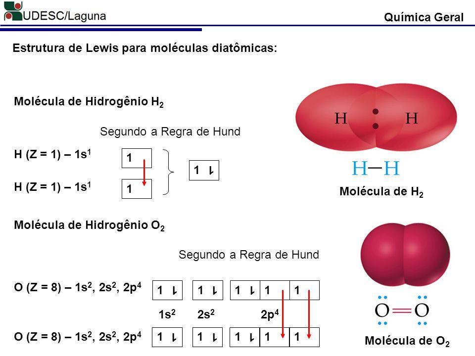 Química Geral Molécula de O 2 Molécula de H 2 Molécula de Hidrogênio H 2 H (Z = 1) – 1s 1 Segundo a Regra de Hund H (Z = 1) – 1s 1 1 1 1 1 Molécula de