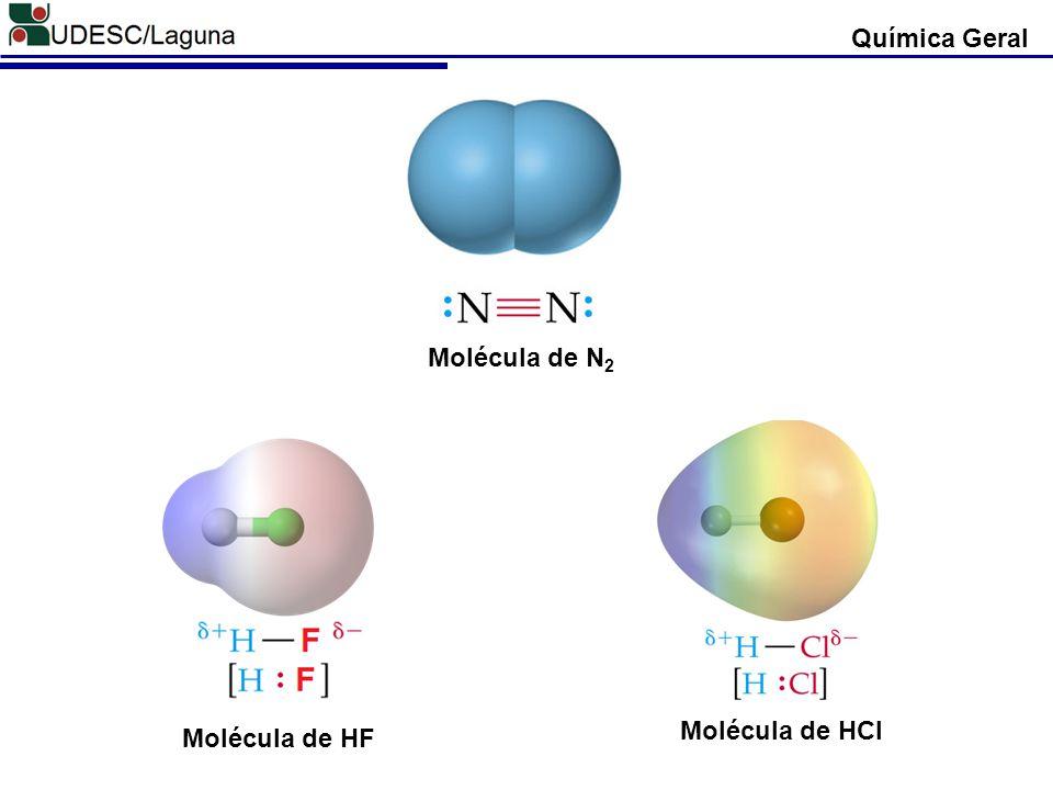 Química Geral Molécula de HCl Molécula de N 2 Molécula de HF