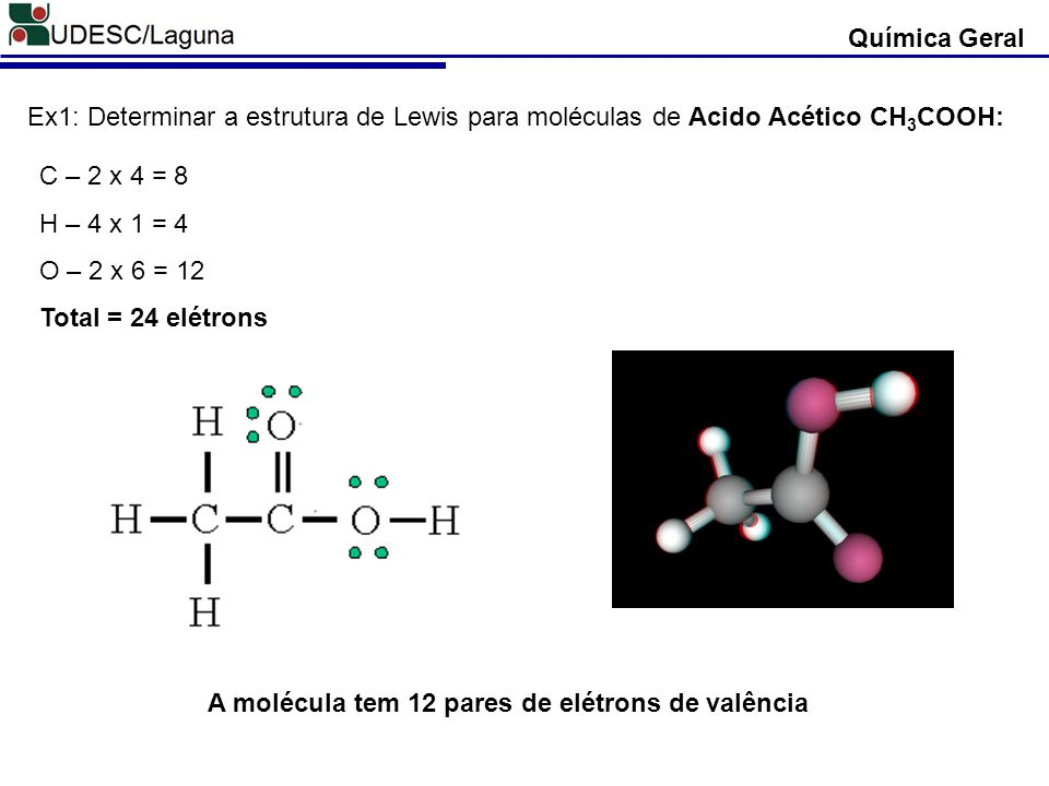 Química Geral Ex1: Determinar a estrutura de Lewis para moléculas de Acido Acético CH 3 COOH: C – 2 x 4 = 8 H – 4 x 1 = 4 O – 2 x 6 = 12 Total = 24 el
