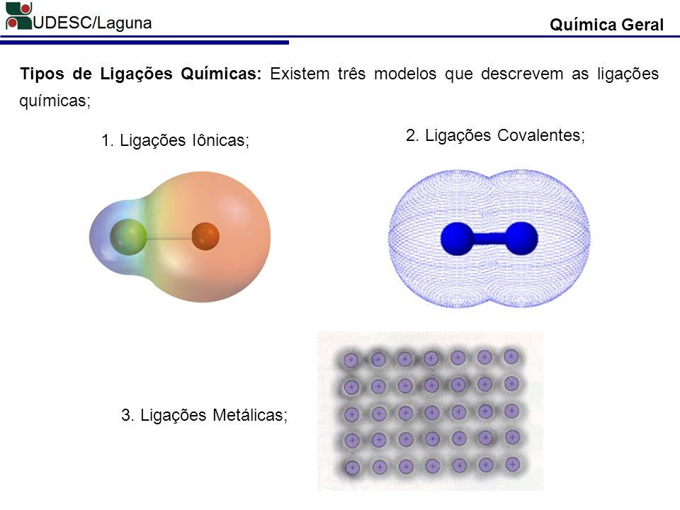 Tipos de Ligações Químicas: Existem três modelos que descrevem as ligações químicas; Química Geral 2. Ligações Covalentes; 1. Ligações Iônicas; 3. Lig