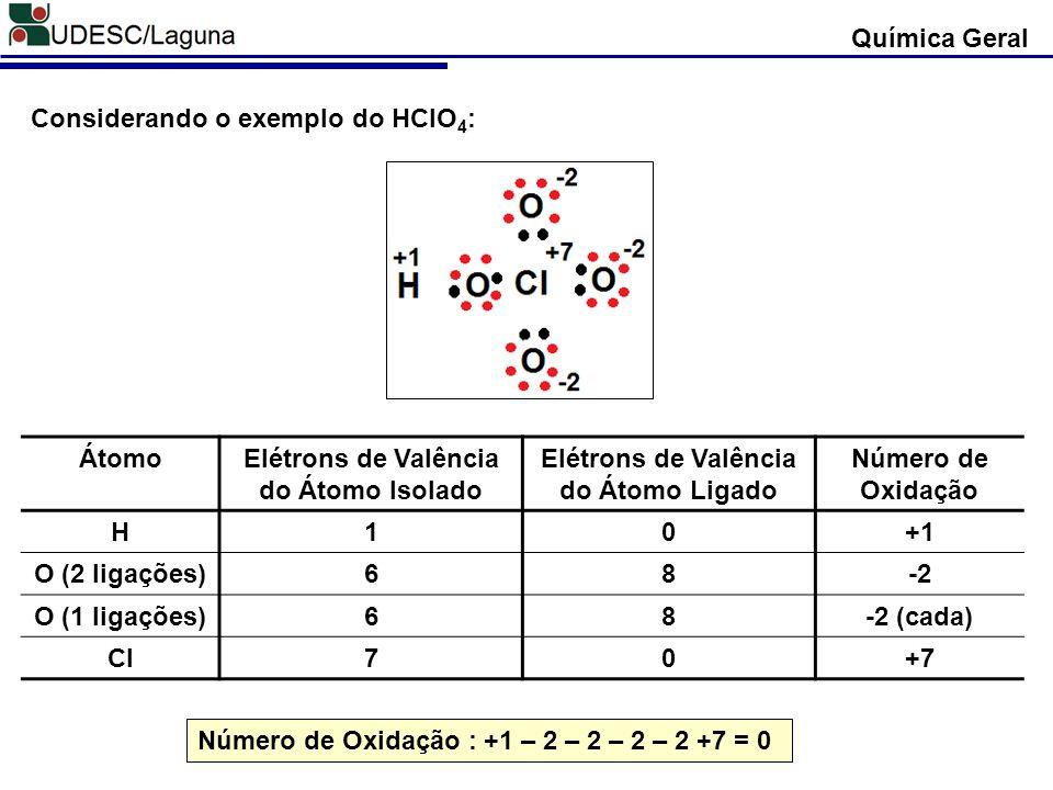 Considerando o exemplo do HClO 4 : ÁtomoElétrons de Valência do Átomo Isolado Elétrons de Valência do Átomo Ligado Número de Oxidação H10+1 O (2 ligaç