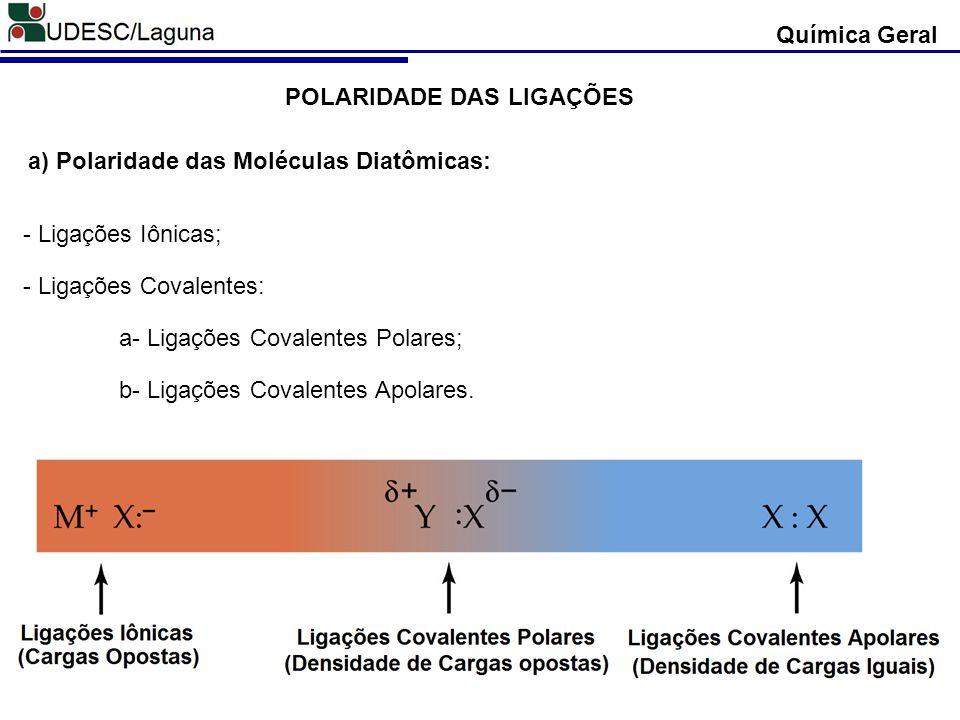 Química Geral POLARIDADE DAS LIGAÇÕES - Ligações Iônicas; - Ligações Covalentes: a- Ligações Covalentes Polares; b- Ligações Covalentes Apolares. a) P
