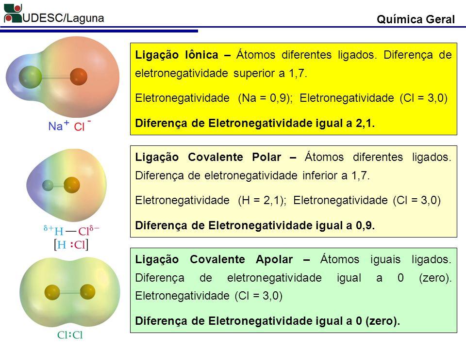 Química Geral Ligação Iônica – Átomos diferentes ligados. Diferença de eletronegatividade superior a 1,7. Eletronegatividade (Na = 0,9); Eletronegativ