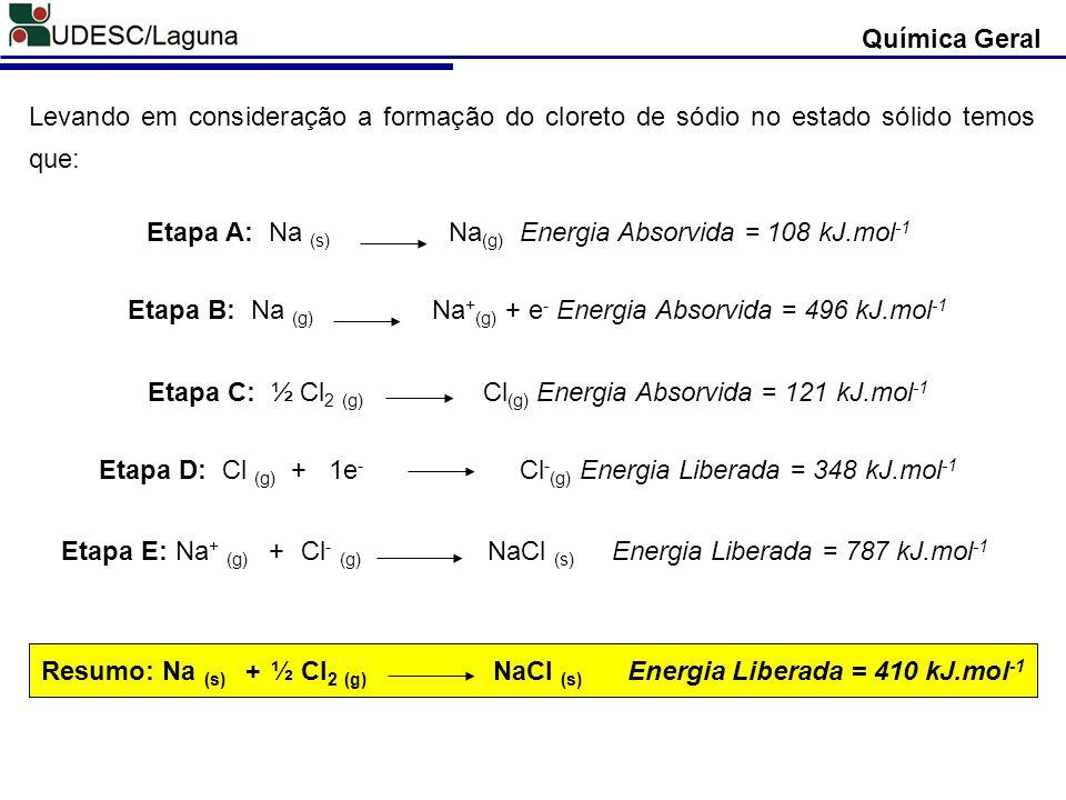 Química Geral Etapa A: Na (s) Na (g) Energia Absorvida = 108 kJ.mol -1 Levando em consideração a formação do cloreto de sódio no estado sólido temos q