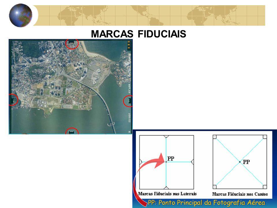 PONTO PRINCIPAL E PONTO CONJUGADO As fotografias aéreas, obtidas a partir de câmaras métricas, possuem quatro marcas, precisamente definidas, denominadas MARCAS FIDUCIAIS, que servem para a localização do PONTO PRINCIPAL em cada foto.