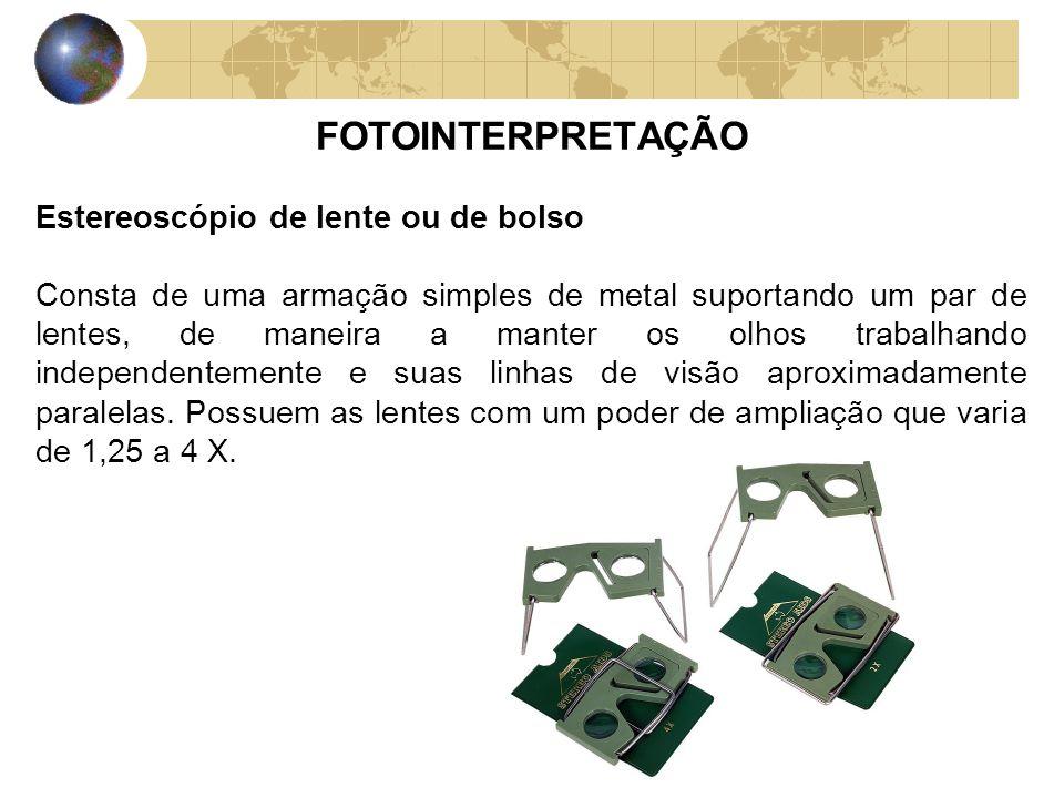 FOTOINTERPRETAÇÃO Estereoscópio de lente ou de bolso Consta de uma armação simples de metal suportando um par de lentes, de maneira a manter os olhos