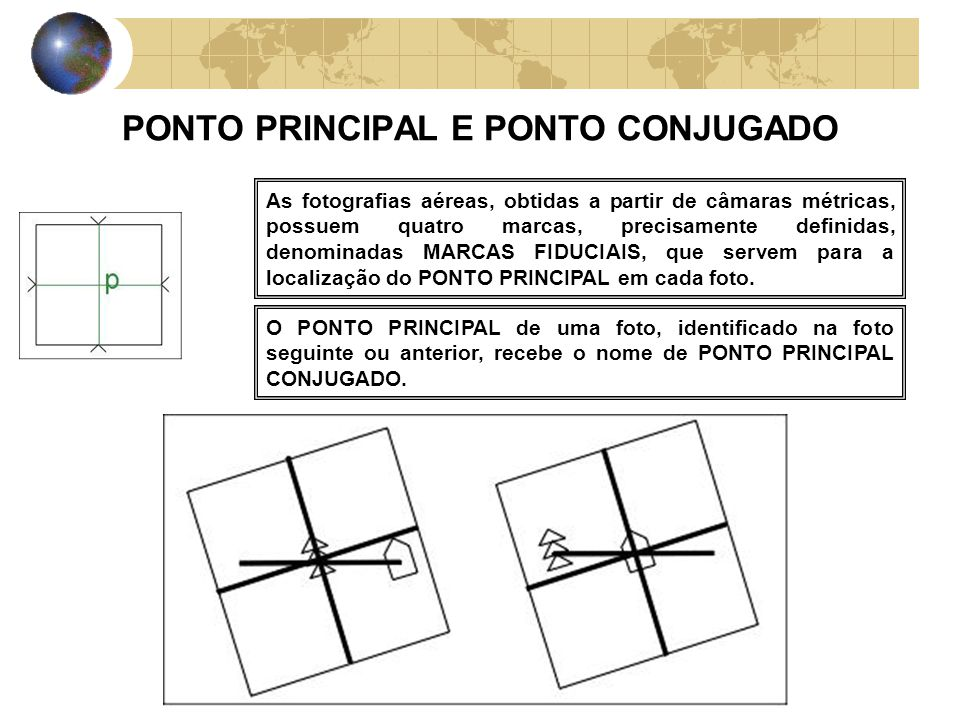 PONTO PRINCIPAL E PONTO CONJUGADO As fotografias aéreas, obtidas a partir de câmaras métricas, possuem quatro marcas, precisamente definidas, denomina