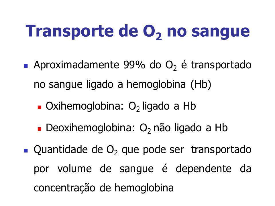Transporte de O 2 no sangue Aproximadamente 99% do O 2 é transportado no sangue ligado a hemoglobina (Hb) Oxihemoglobina: O 2 ligado a Hb Deoxihemoglo