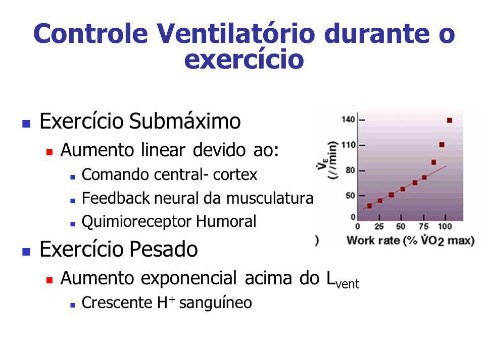 Controle Ventilatório durante o exercício Exercício Submáximo Aumento linear devido ao: Comando central- cortex Feedback neural da musculatura Quimior