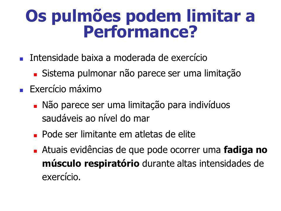 Os pulmões podem limitar a Performance? Intensidade baixa a moderada de exercício Sistema pulmonar não parece ser uma limitação Exercício máximo Não p