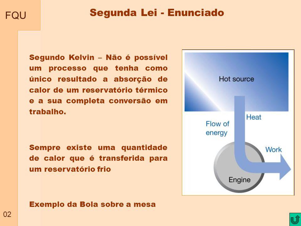 FQU 02 Segundo Kelvin – Não é possível um processo que tenha como único resultado a absorção de calor de um reservatório térmico e a sua completa conv