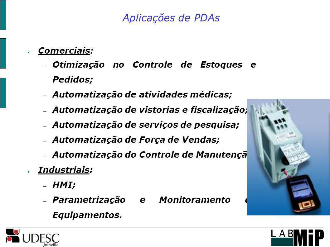 Aplicações de PDAs Comerciais: – Otimização no Controle de Estoques e Pedidos; – Automatização de atividades médicas; – Automatização de vistorias e f
