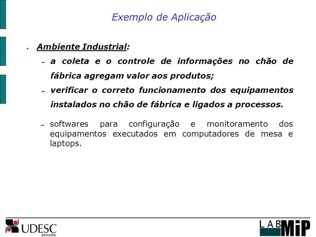 Exemplo de Aplicação Ambiente Industrial: – a coleta e o controle de informações no chão de fábrica agregam valor aos produtos; – verificar o correto