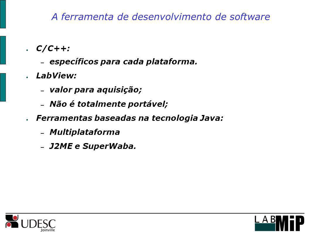 A ferramenta de desenvolvimento de software C/C++: – específicos para cada plataforma. LabView: – valor para aquisição; – Não é totalmente portável; F