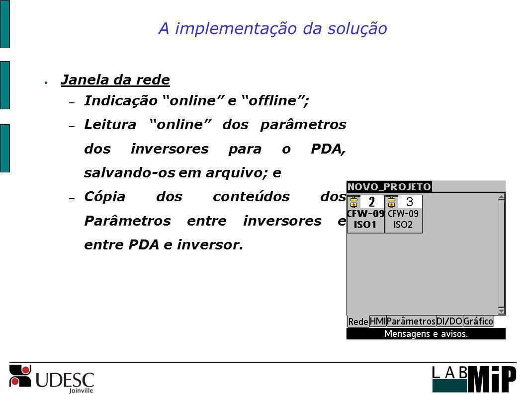 A implementação da solução Janela da rede – Indicação online e offline; – Leitura online dos parâmetros dos inversores para o PDA, salvando-os em arqu