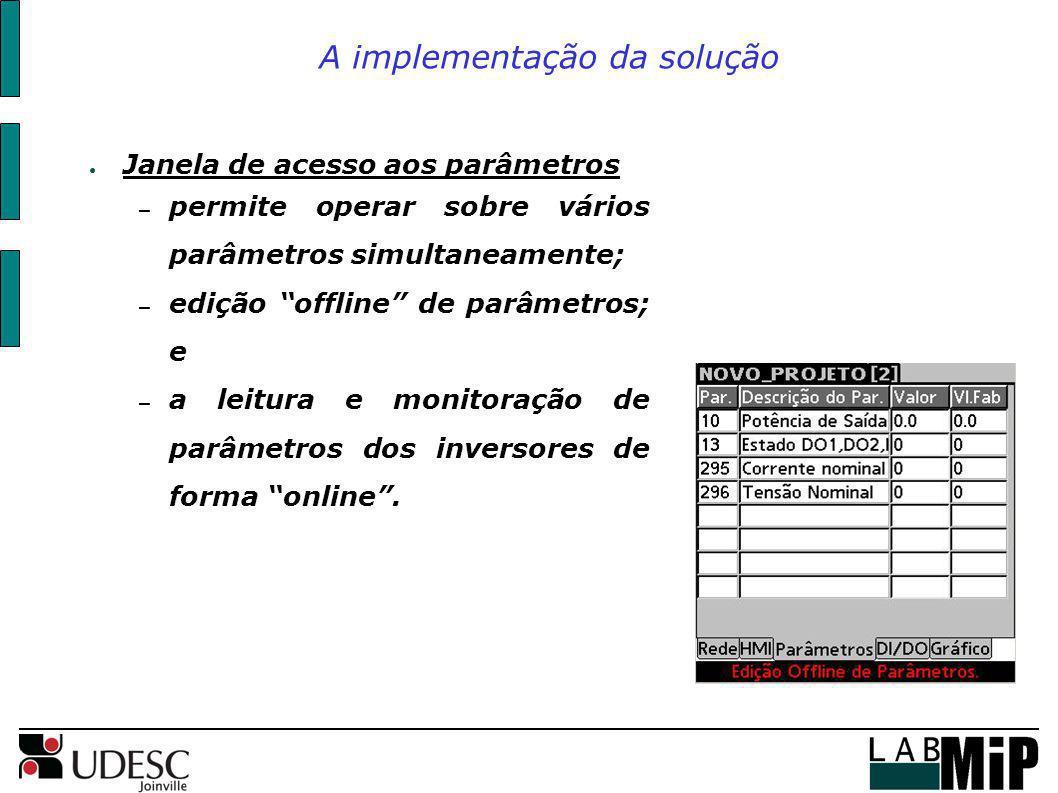 A implementação da solução Janela de acesso aos parâmetros – permite operar sobre vários parâmetros simultaneamente; – edição offline de parâmetros; e