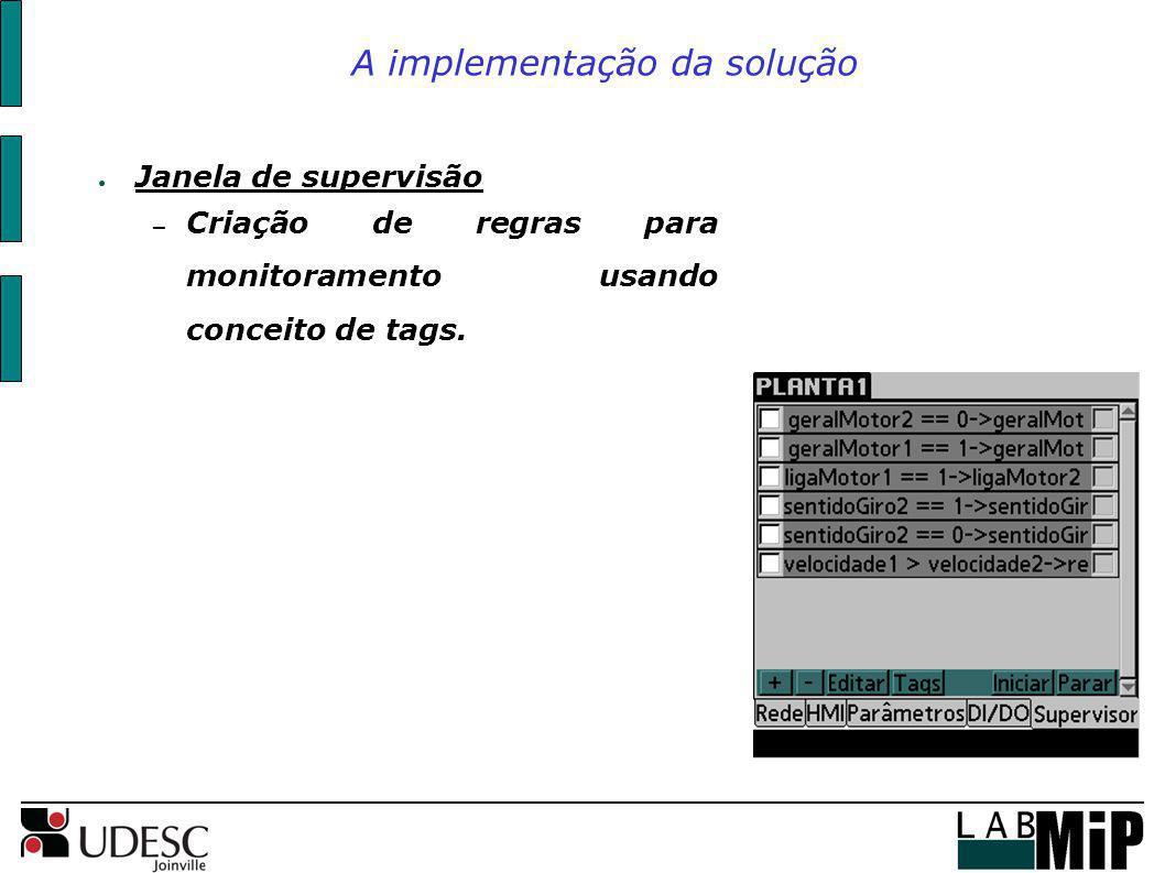 A implementação da solução Janela de supervisão – Criação de regras para monitoramento usando conceito de tags.