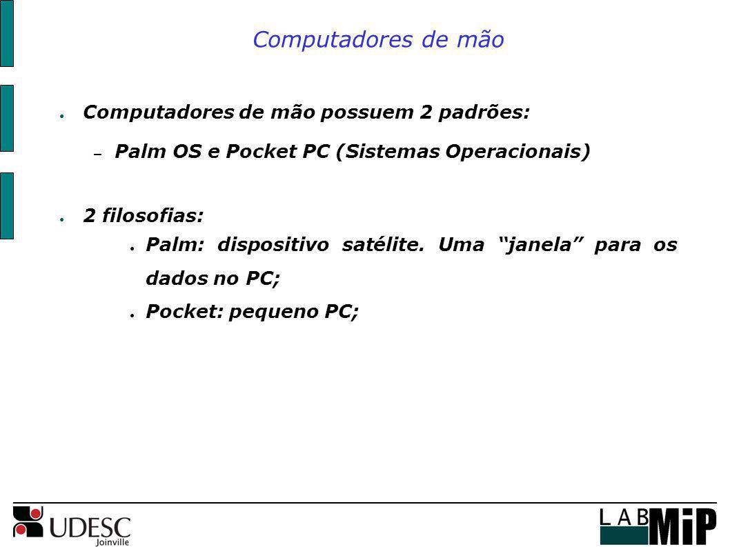 Computadores de mão possuem 2 padrões: – Palm OS e Pocket PC (Sistemas Operacionais) 2 filosofias: Palm: dispositivo satélite. Uma janela para os dado