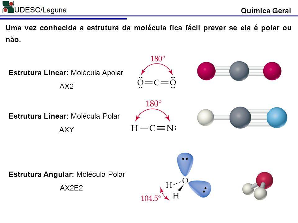 Uma vez conhecida a estrutura da molécula fica fácil prever se ela é polar ou não. Estrutura Linear: Molécula Apolar AX2 Estrutura Linear: Molécula Po