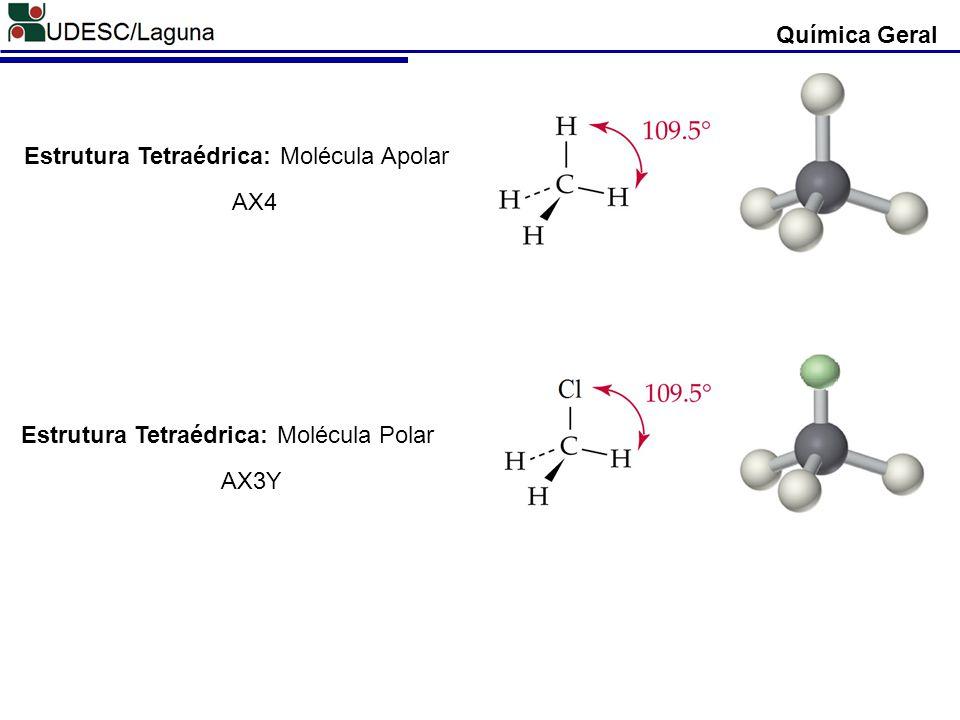 Química Geral Estrutura Tetraédrica: Molécula Apolar AX4 Estrutura Tetraédrica: Molécula Polar AX3Y