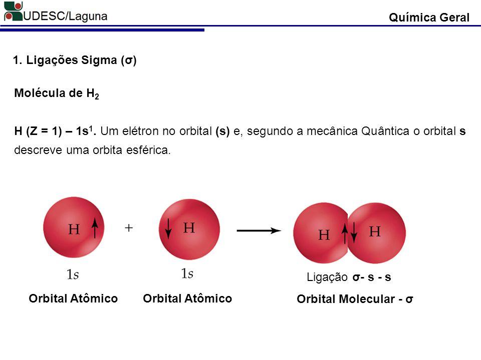 Química Geral 1. Ligações Sigma (σ) Molécula de H 2 H (Z = 1) – 1s 1. Um elétron no orbital (s) e, segundo a mecânica Quântica o orbital s descreve um