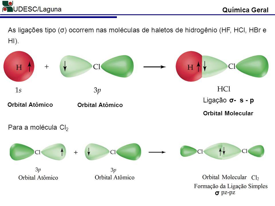 Química Geral As ligações tipo (σ) ocorrem nas moléculas de haletos de hidrogênio (HF, HCl, HBr e HI). Ligação σ- s - p Orbital Atômico Orbital Molecu