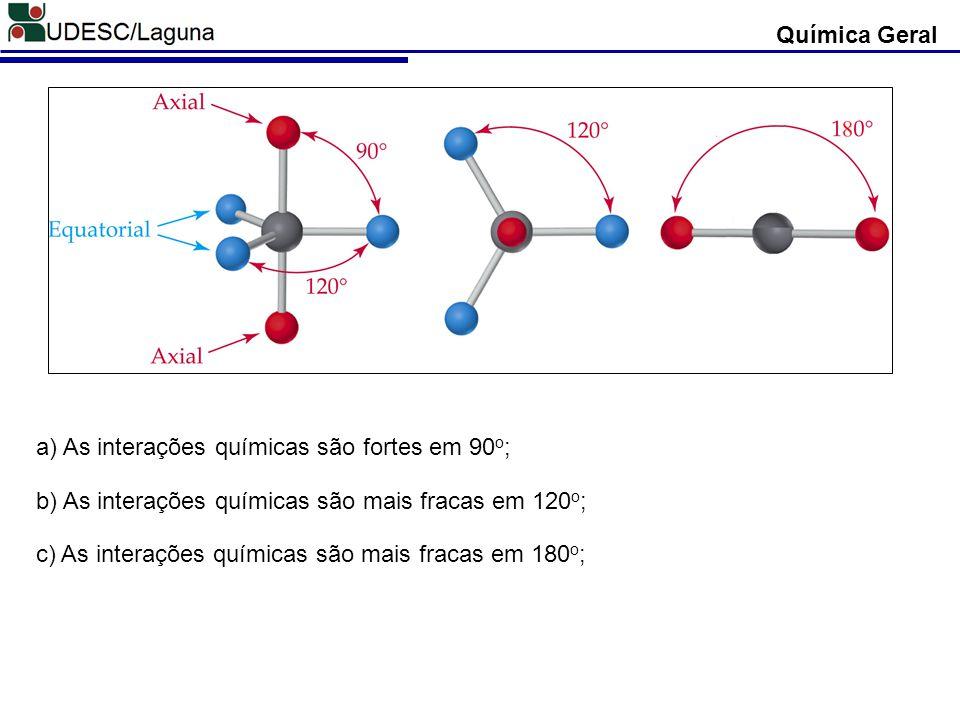 Química Geral Ex: Escrever a estrutura de Lewis para descobrir quantos pares de elétrons estão localizados ao redor do átomo central nas moléculas de Tricloreto de Arsênio AsCl 3 e Tetrafluoresto de Enxofre: AsCl 3 As (Z = 33) [Ar] 3d 10, 4s 2, 4p 3 (5 elétrons na camada de valência – Camada N; Grupo 15) Cl (Z = 17) [Ar] 3s 2, 3p 5 (7 elétrons na camada de valência – Camada M; Grupo 17) O átomo de Arsênio (As) apresenta 4 pares de elétrons: - 3 pares compartilhados; - 1 par isolado; Portanto, Número Esteárico = 4 Número Esteárico: É definido como o número de pares de elétrons isolados ou não ao redor do Átomo Central.