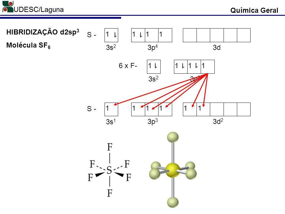 HIBRIDIZAÇÃO d2sp 3 6 x F-1111 1 3s 2 3p 5 1 1 S - 11111 3s 1 3p 3 3d 2 1 Molécula SF 6 S - 1111 1 3s 2 3p 4 3d 1