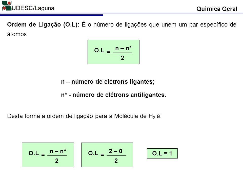 Química Geral Ordem de Ligação (O.L): É o número de ligações que unem um par específico de átomos. Desta forma a ordem de ligação para a Molécula de H
