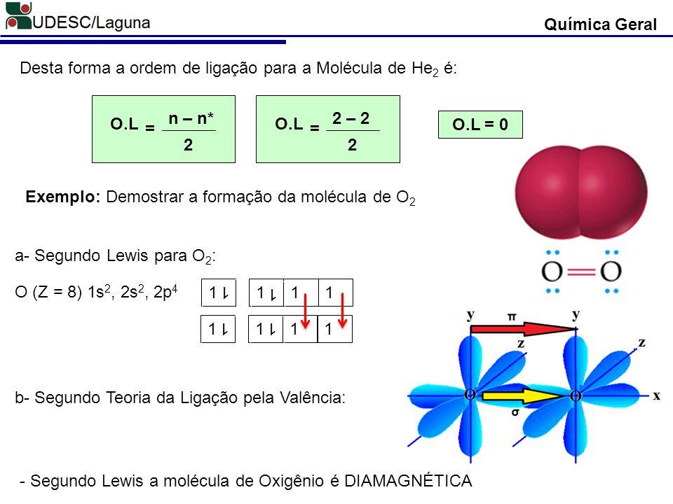 Química Geral Desta forma a ordem de ligação para a Molécula de He 2 é: O.L 2 n – n* = O.L 2 2 – 2 = O.L = 0 Exemplo: Demostrar a formação da molécula