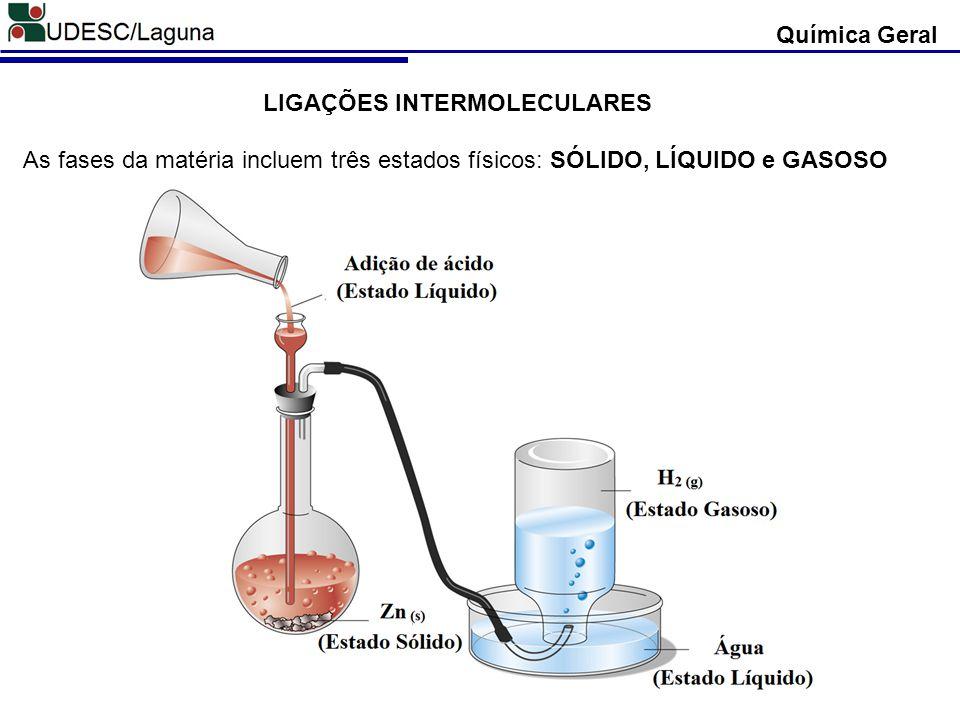Química Geral LIGAÇÕES INTERMOLECULARES As fases da matéria incluem três estados físicos: SÓLIDO, LÍQUIDO e GASOSO