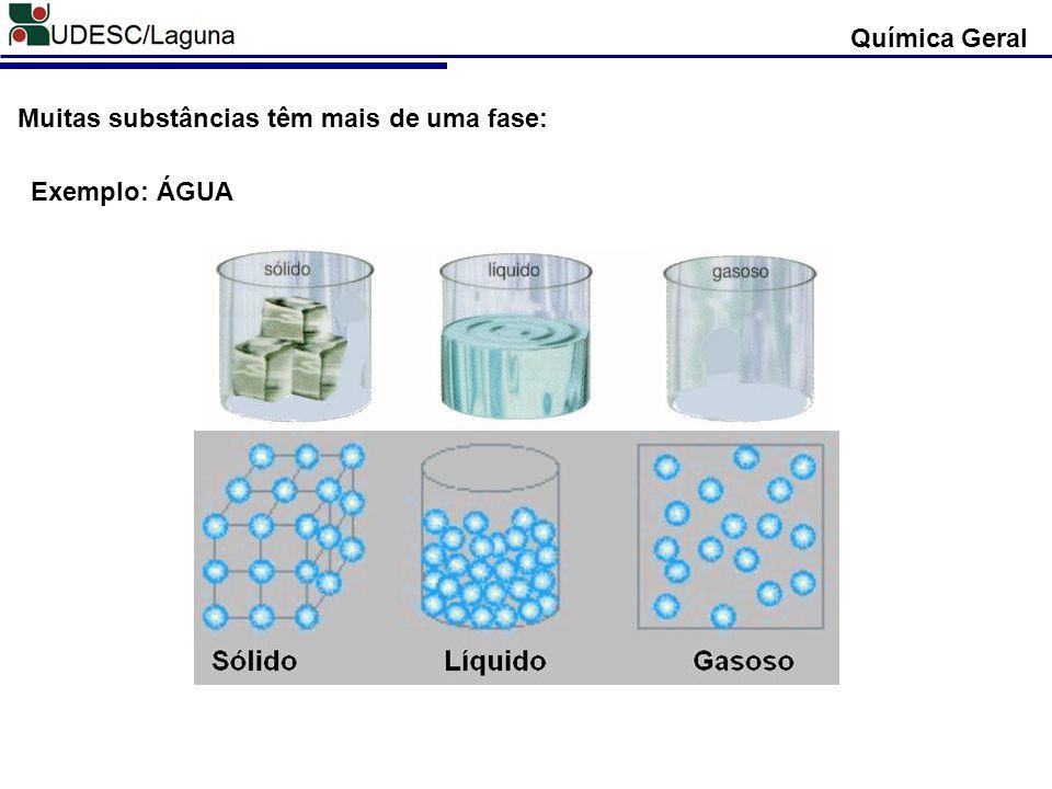 Química Geral Muitas substâncias têm mais de uma fase: Exemplo: ÁGUA