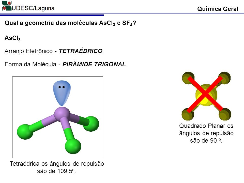 Química Geral Qual a geometria das moléculas AsCl 3 e SF 4 ? AsCl 3 Arranjo Eletrônico - TETRAÉDRICO. Forma da Molécula - PIRÂMIDE TRIGONAL. Quadrado