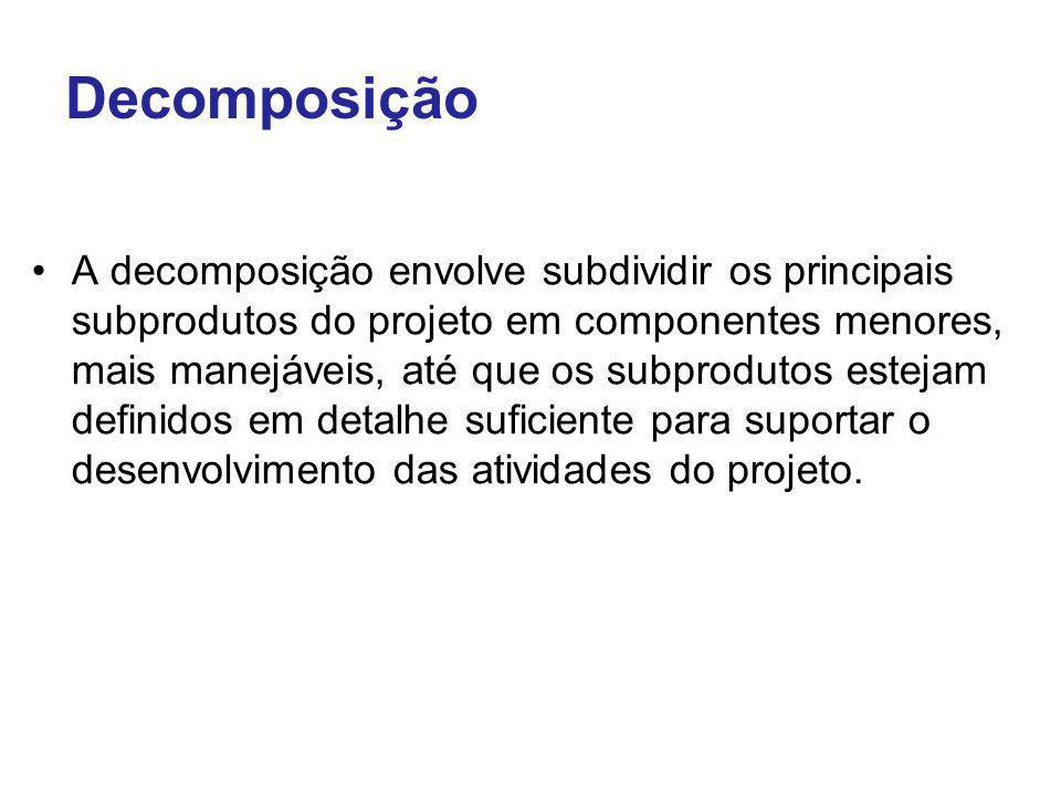 Decomposição A decomposição envolve subdividir os principais subprodutos do projeto em componentes menores, mais manejáveis, até que os subprodutos es