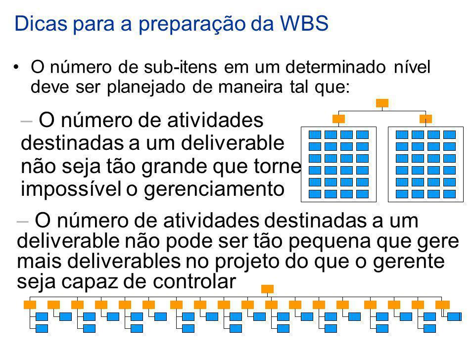Dicas para a preparação da WBS O número de sub-itens em um determinado nível deve ser planejado de maneira tal que: – O número de atividades destinada