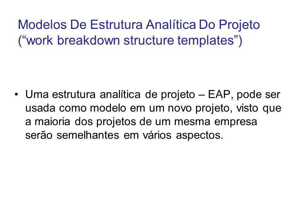 Modelos De Estrutura Analítica Do Projeto (work breakdown structure templates) Uma estrutura analítica de projeto – EAP, pode ser usada como modelo em