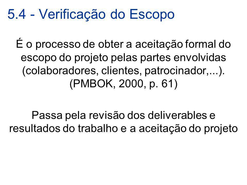 5.4 - Verificação do Escopo É o processo de obter a aceitação formal do escopo do projeto pelas partes envolvidas (colaboradores, clientes, patrocinad