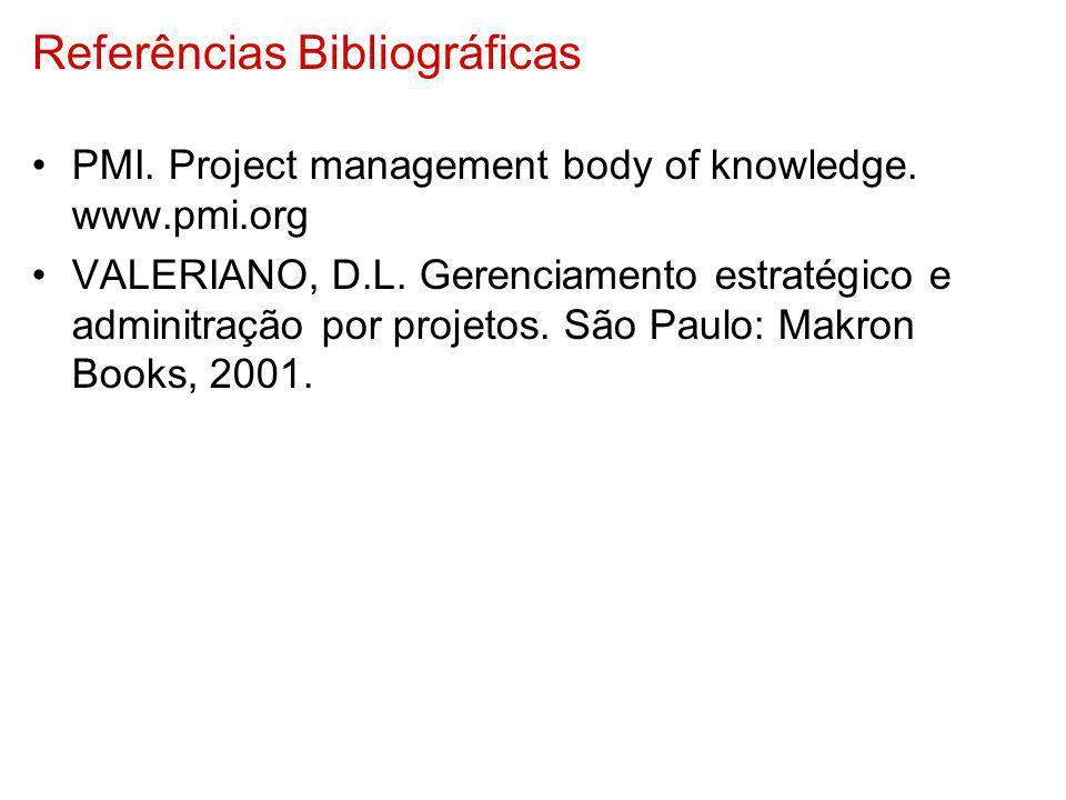 Referências Bibliográficas PMI. Project management body of knowledge. www.pmi.org VALERIANO, D.L. Gerenciamento estratégico e adminitração por projeto