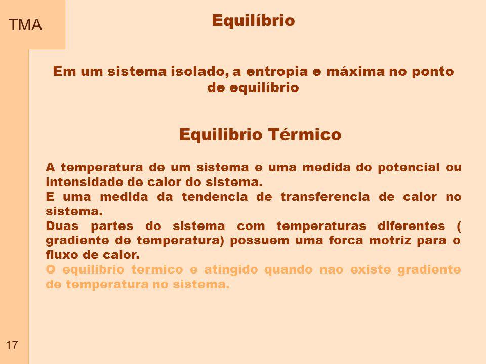 TMA 17 Em um sistema isolado, a entropia e máxima no ponto de equilíbrio A temperatura de um sistema e uma medida do potencial ou intensidade de calor do sistema.