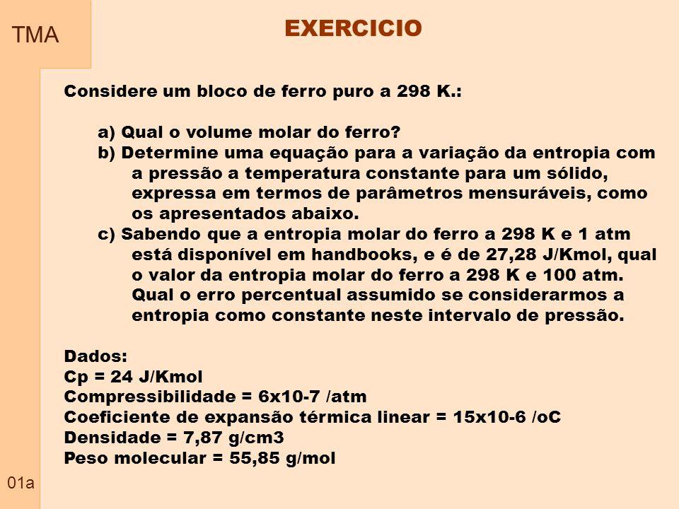 TMA 01a EXERCICIO Considere um bloco de ferro puro a 298 K.: a) Qual o volume molar do ferro.