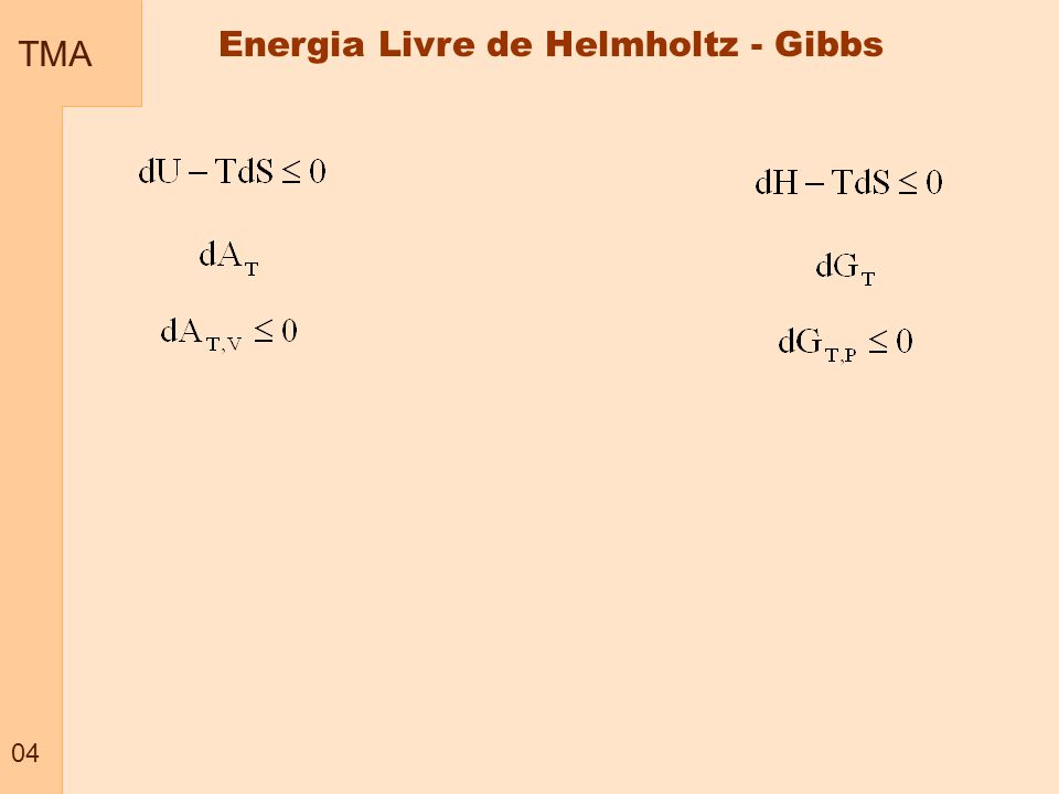 TMA 05 Relação entre energia de Gibbs e temperatura a pressão constante Energia Livre de Gibbs