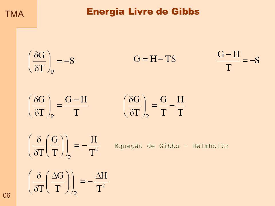 TMA 07 Relação entre energia de Gibbs e pressão a temperatura constante Energia Livre de Gibbs