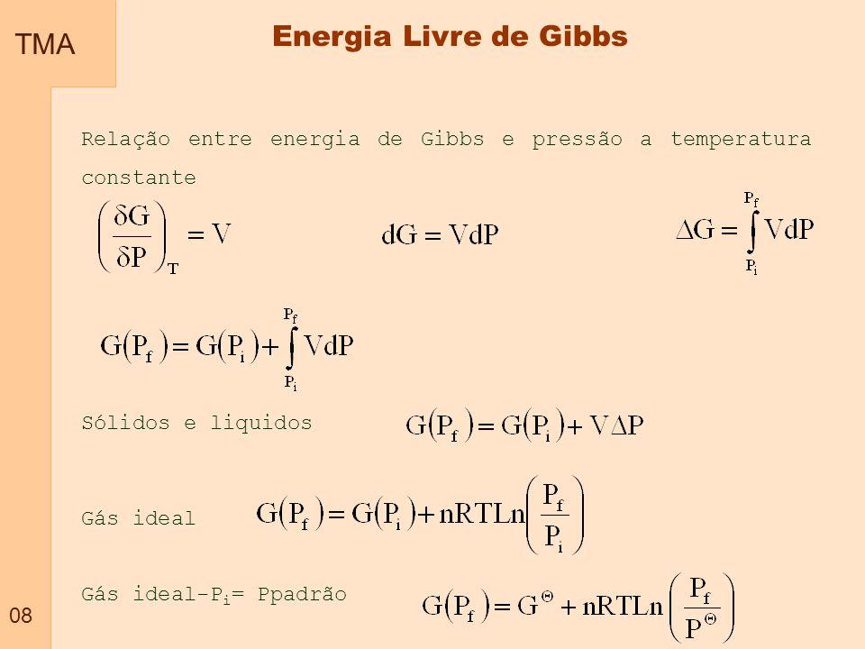 TMA 19 -Temperatura constante (equilíbrio térmicos) -Pressão constante (equilíbrio mecânico) -Potencial químico constante (equilíbrio químico) -Mínima entalpia -Mínima energia livre de Helmholtz -Mínima energia livre de Gibbs -Máxima entropia Equilíbrio